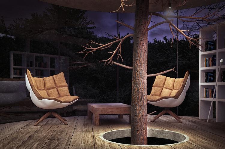見た目にも美しい、ガラス張りのツリーハウス「Tree in the house」5