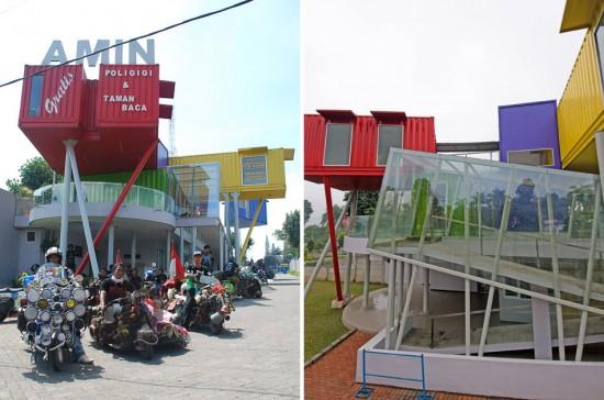 輸送用のコンテナを使用してつくられた、小さな診療所と図書館が併設されたカラフルなコンテナハウスライブラリー。5