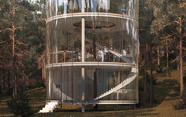 見た目にも美しい、ガラス張りのツリーハウス「Tree in the house」3