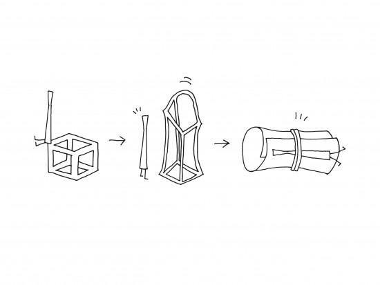 立体的な輪ゴム「cubic rubber-band」