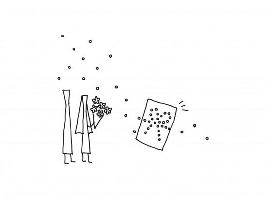 単純なドットのみで表現した「のし袋」「 dot envelope」