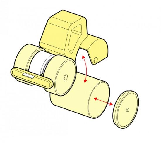 ブルドーザーの形をしたローラーテープ