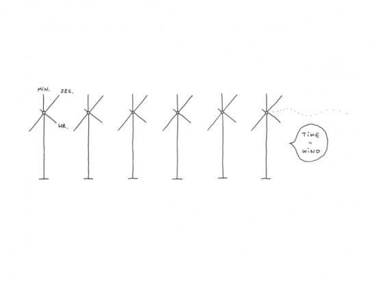 風のように時を感じる 「風車」のような時計「kazadokei」1
