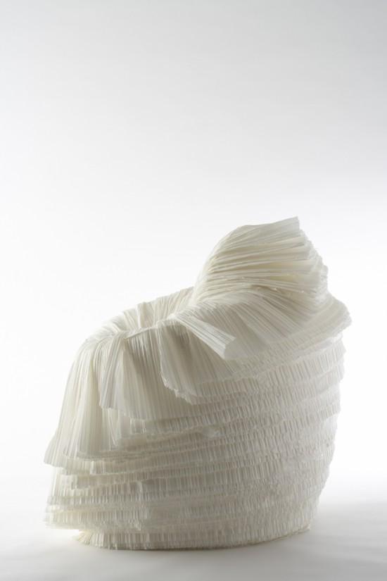 捨てられた紙を-「剥いて」つくったイス「cabbage chair」4