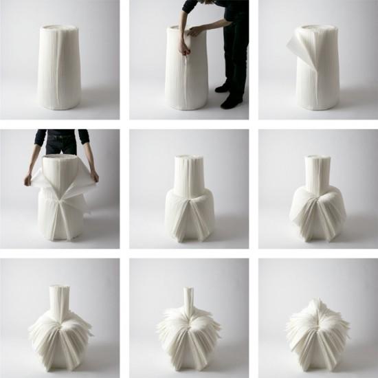 捨てられた紙を-「剥いて」つくったイス「cabbage chair」15