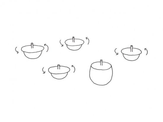 フタが「コマ」になっている 急須と湯呑み「top-tea set」1