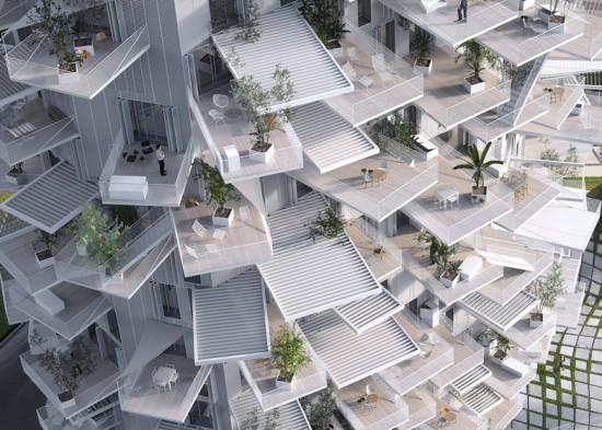 藤本壮介が手がけるフランスのモントリオールのタワーブロックがパイナップルのような建物