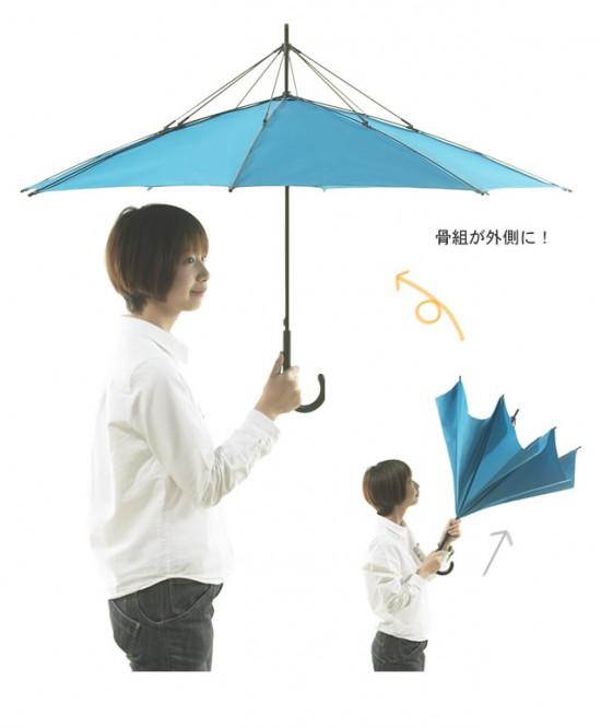 デザイナー梶本博司氏がデザインした、実用性を考えたら逆さまになった、逆さまの傘「UnBRELLA 」5