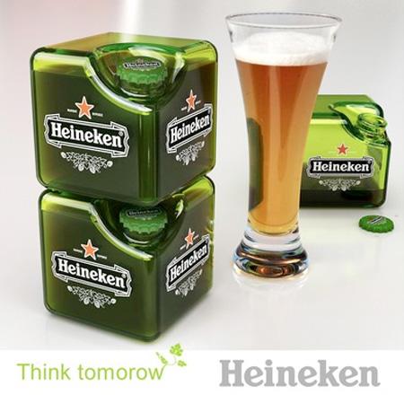 ハイネケンのキューブ型の瓶のパッケージデザイン