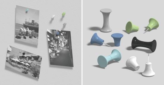 ポストカードや写真に穴をあけることなく飾ることが出来る画鋲(がびょう)「Pin-Bone」