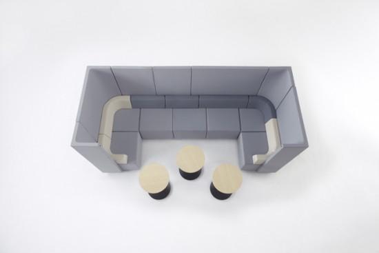 「」(カギカッコ)のように組み合わせて使うことの出来るソファー