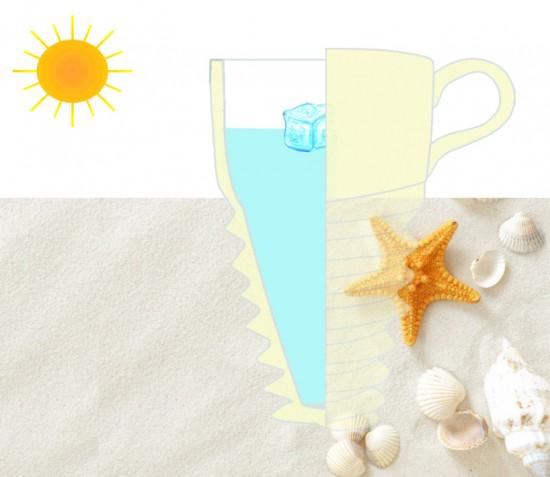 ビーチで飲むことのできる貝殻のようなマグカップ「screw cup」