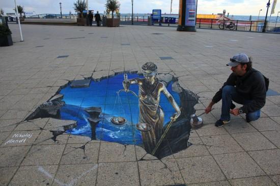 ドイツ人ストリートアーティストNikolaj Arndt氏による3Dストリートトリックアート