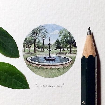 鉛筆の先ほどの大きさの繊細かつ綿密に描かれたミニチュアペインティング