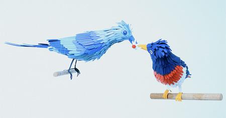 紙で出来た鳥「ペーパークラフトバード」