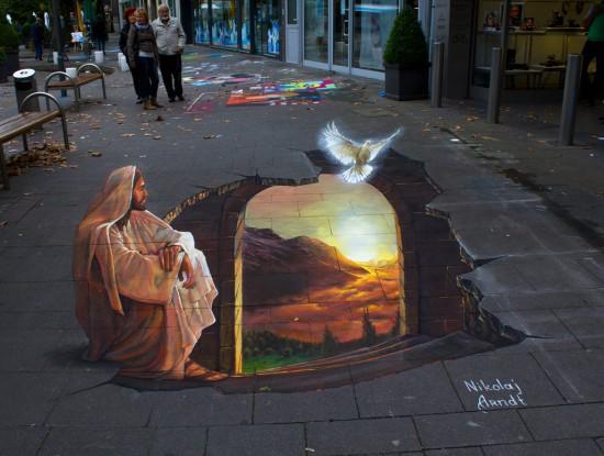 ドイツ人ストリートアーティストNikolaj Arndt氏による3Dストリートトリックアート-d7vpn8a