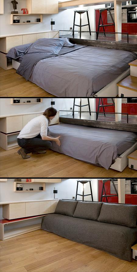 床下に収納できるベッド