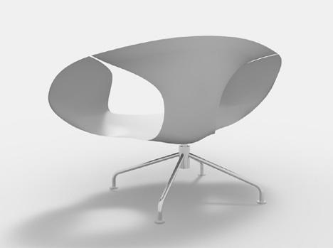 ゴム製ヘラのように薄く、弾性に富むボディを持つ椅子「sparrow」