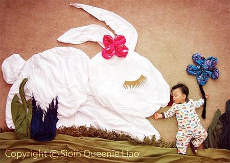 かわいい赤ちゃんの寝相アート