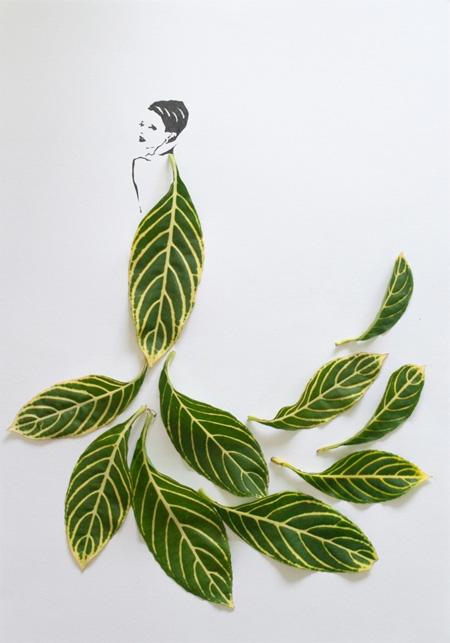 葉っぱを使ったクリエイティブなアート作品