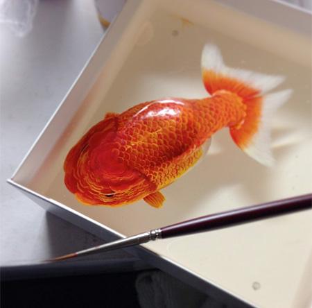 金魚絵師の深堀隆介氏にインスパイアされて描かれた美しい3Dアート
