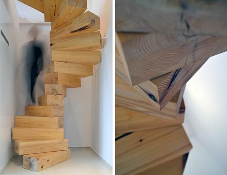 wood-block-ポーランドの小さなアパートにつくられたジェンガのような階段