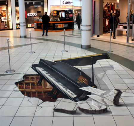 路上に描かれた3Dトリックアート