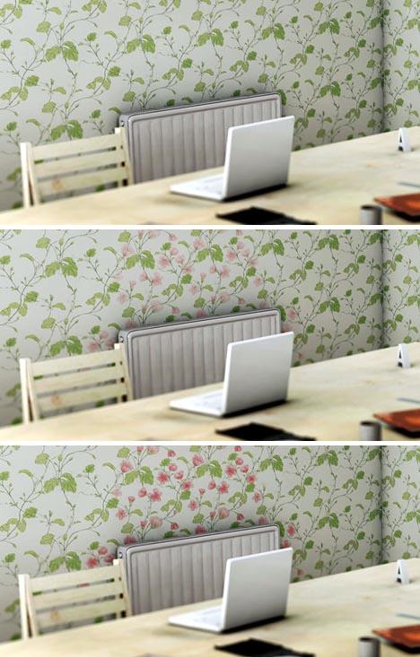 室内の温度によって変化する壁紙。