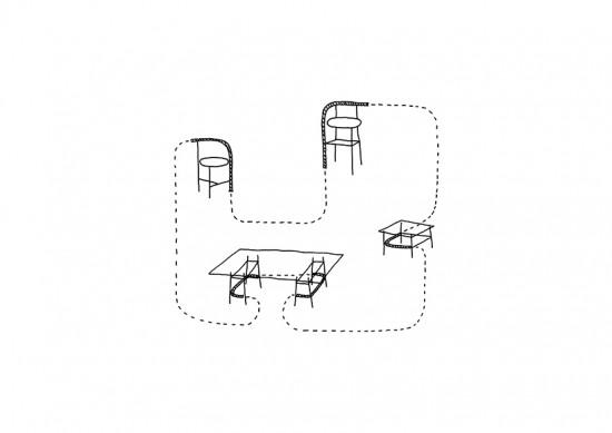 あえて1か所だけ曲げ木を使うことをテーマにした家具
