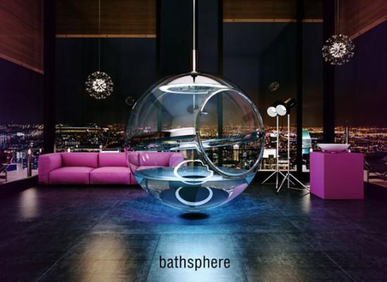 宙に浮くガラス玉のバスルーム