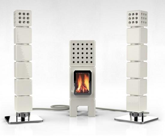 オーディオスピーカーのようなデザインの暖炉「ThermoStack」