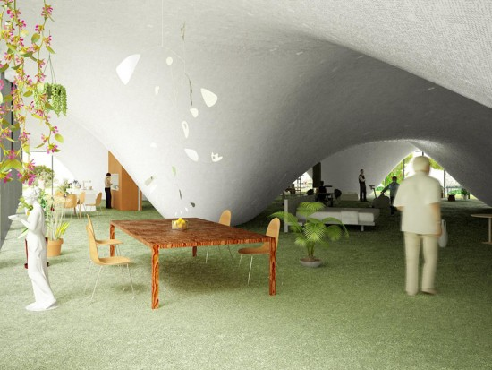 屋根がプールの家