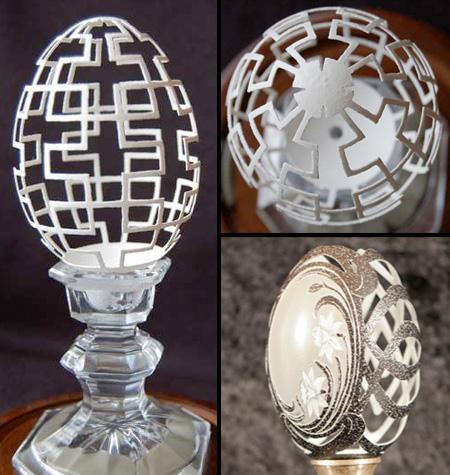 卵の殻をカービングしてつくった作品「エッグカービング」
