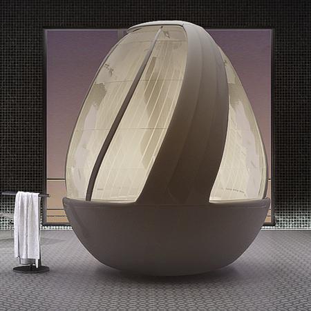 卵形のシャワールーム