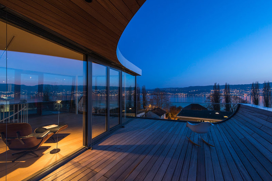 flexhouse top+floor terrace facing west 視点20(夜2) 設計: evolution design