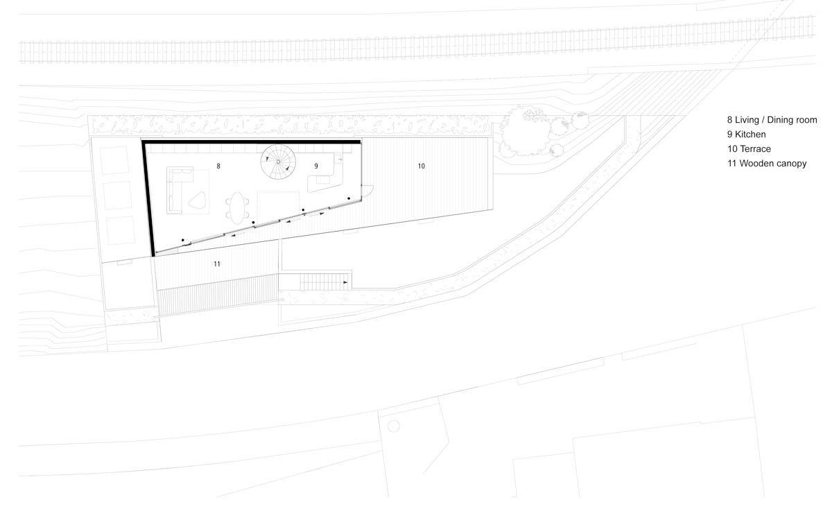 flexhouse ground foor plan with surroundings 設計: evolution design
